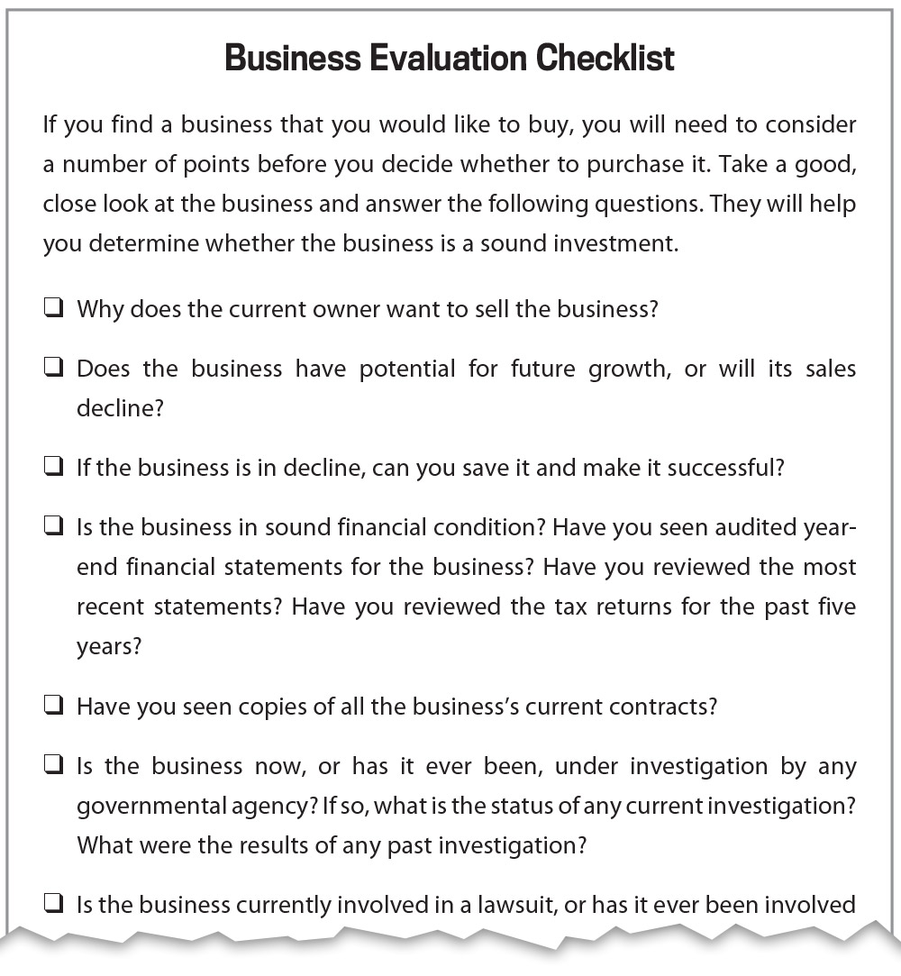 Franchise Evaluation Worksheet